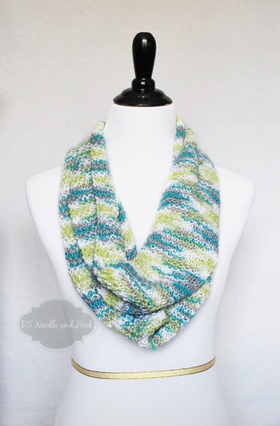 SALE! Aqua Green and White Long Knit Infinity Scarf, Lightweight Teal Cowl, Light Wrap Scarf