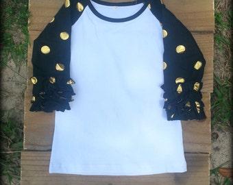Black with Gold Polka Dots Ruffle Raglan