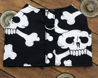 Black and White Skulls Dog Harness, Dog Vest, Pet Accessories, Chihuahua Harness