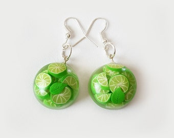 MOJITO EARRINGS - Transparent glass-like - Lime Lemon - Green Summer Round