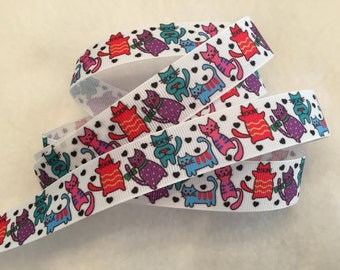 "5Y Colorful Cat Grosgrain Ribbon 7/8"" Last 5 Yards"