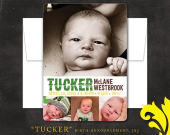 TUCKER . birth announcement . printable or printed 5x7