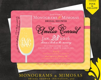 MONOGRAMS & MIMOSAS . bridal shower invitation