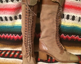 Vintage Ottorino Bossi sz 38/8 lace up suede/leather boot