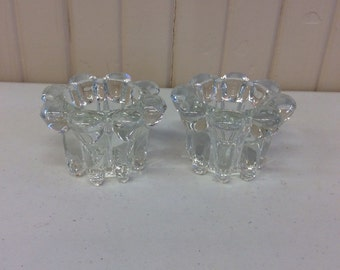 Vintage crystal glass candle holders