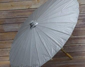 """32"""" Silver Paper Parasol Umbrella - 40PP-SV"""