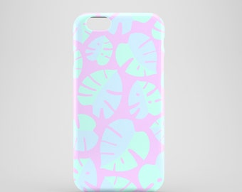 Monstera Leaves iPhone 7 case, lilac iPhone 6S case, pastel iPhone SE case, floral iPhone SE, iPhone 6/6S, iPhone 5/5s, iPhone 7 Plus