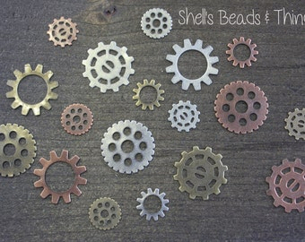 Steampunk Gears, Mixed Media, Cogs and Gears, Metal Colors, Jewelry Making Supply