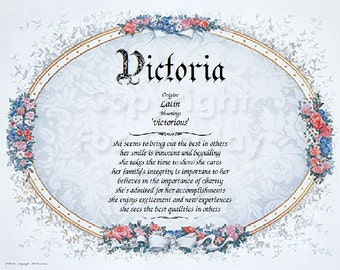 Personalized Victorian Style Name Meaning Print