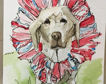 9 x 12 illustrative dog portrait