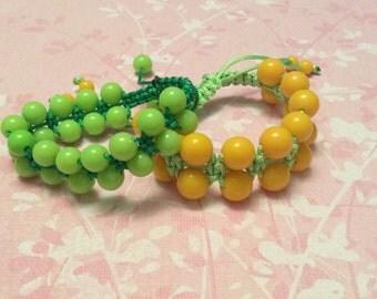 Lime Shamballa style bracelet, beaded bracelet, lemon bracelet
