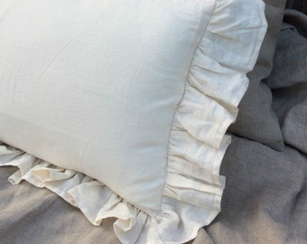 Ruffle pillow covers, Cream linen ruffle pillow covers, accented pillow covers, sham covers, pillow protector