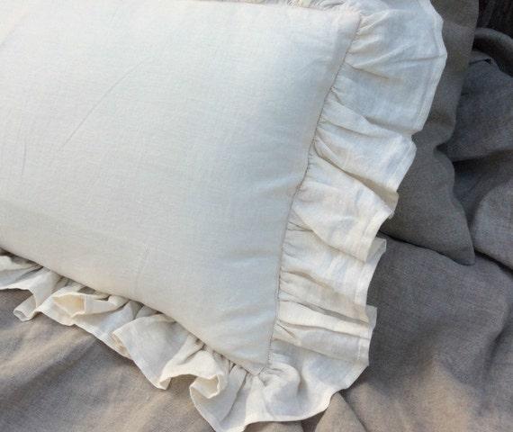 Ruffle pillow covers Cream linen ruffle pillow covers