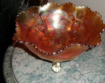 "Antique Fenton Carnival Glass Marigold ''CHRYSANTHEMUM"" Footed Orange Bowl - Collectible Art Glass - Vintage Carnival Glass ("