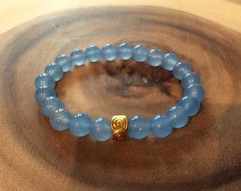 8mm Brazilian Aquamarine Gemstone Round Loose Bead Bracelet
