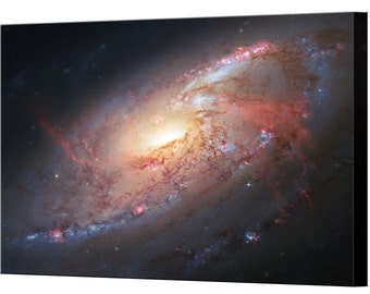 Spiral Galaxy M106 Hubble Canvas Print Framed Ready To Hang Wall Art Picture