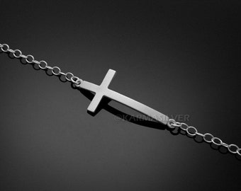 Silver Latin Cross Bracelet .925 Sterling Silver Curved Cross Bracelet