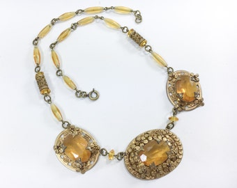 20s 30s Topaz Glass Gold Necklace