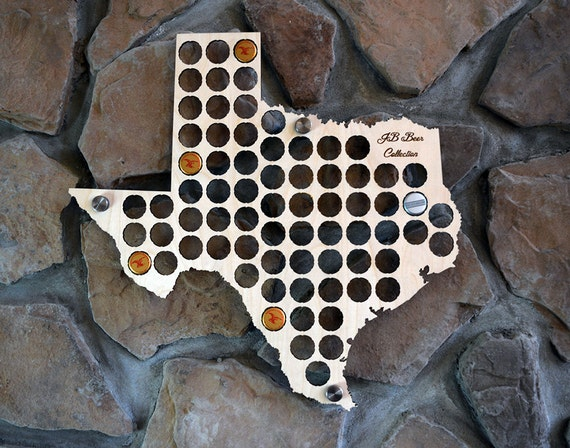 Texas Beer Cap Map Perfect For Texas Pubs Man Caves or Groomsman Gifts