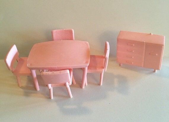 pink Dining Room Set 1 2 vintage Marx Superior Dollhouse