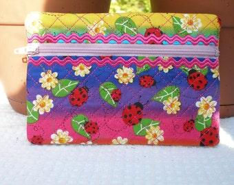 Ladybug Cosmetic Bag with Embroidery