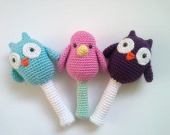 Rattles, Soft Baby Rattles, Bird Rattle, Owl Rattle, Penguin Rattle, Toy for Babies, Crochet Rattle