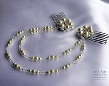 Bridal hair chain /comb with diamante, faux pearl and glass bicones in Cream