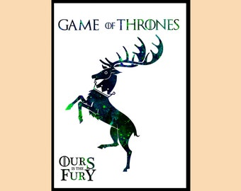 Game Of Thrones inspired, Ours is the Fury, Baratheon, Watercolor print, Kids Room Decor, print,gift,Instant Download