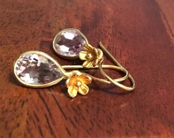 Pink amethyst faceted drops on gold flower adorned earwires