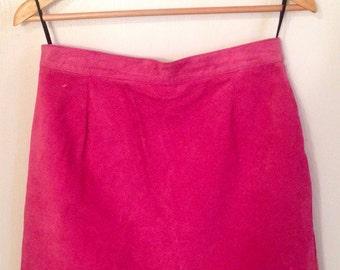 Vintage 1970s Pink Suede Skirt