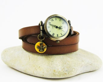 Leather vintage watch, choice of colour, leather wrap watch with bee and enamelled sequin