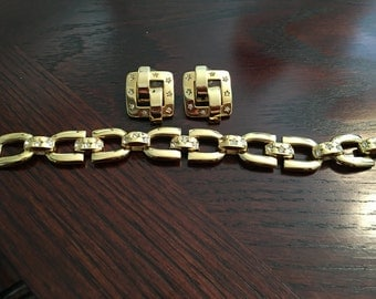 Joan Rivers Linked Bracelet and Earrings with Crystal Star Insets
