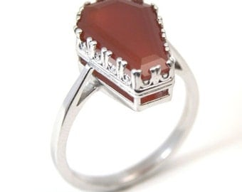 Coffin Ring 5ct Solitaire Red Onyx Set In Sterling Silver
