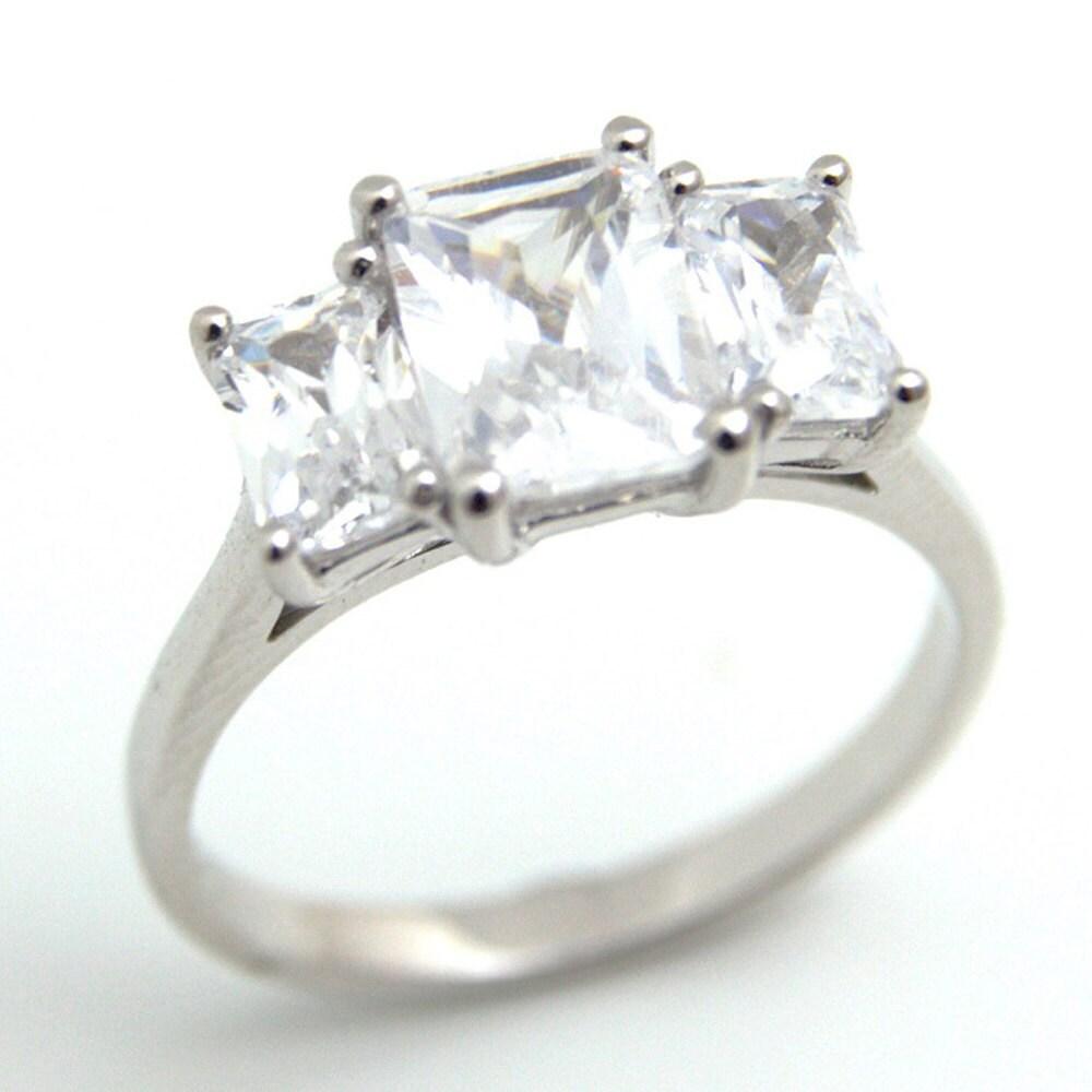unique emerald cut trilogy ring sterling silver c208