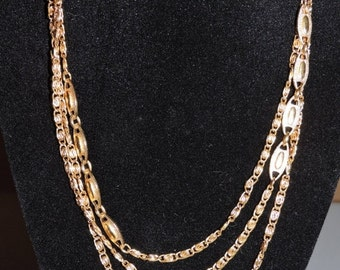 """Christmas in July! ON SALE Gold tone Signed Monet Vintage Necklace Extra Long 54"""""""
