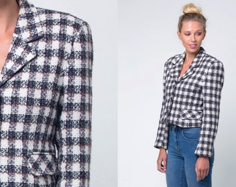 bay trade co cream checked jacket / cream cropped wool jacket  / vtg 90s / s
