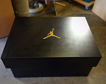Custom made Giant Jordan Black and Gold Storage Shoe Box - Boyfriend Gift~Girlfriend Gift~Wife Gift~Husband Gift