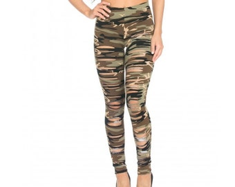 Ripped Up Camouflage Leggings by Legs247.com