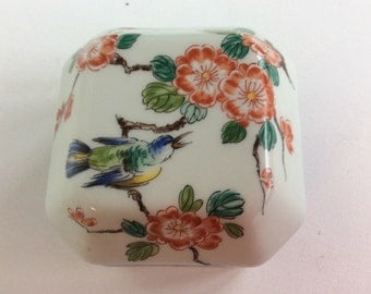 Vintage coral pink floral canister trinket or jewelry box by Vista Allegre, made in Portugal. Trinket box with Japanese flowering quince.