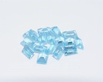 17 Natural Emerald Cut Light Blue Topaz .11 Carats Each Loose Gemstones December Birthstone