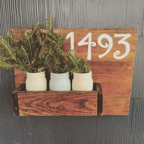 Wood plant holder/house number sign, house number, plant holder, mason jars, wood sign, home decor