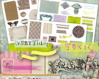 Irrelevant Scrap - 3 x Digital Collage Sheet ATC .png - itKuPiLLi - Printable, Instant Download