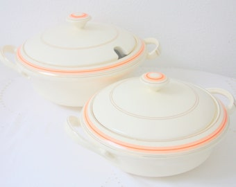 Vintage Mosa Plateel Two Ceramic Serving Dishes with Lid, Art Deco, Made in Holland