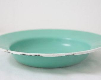 Vintage Green Enamel Deep Plate, White Rim