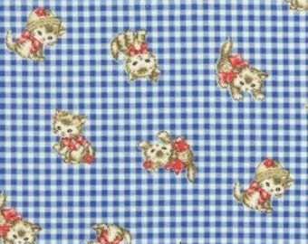 Pocket Kittens - Valentine Kittens on Small Blue Gingham Background by the Half Yard