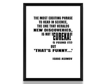 Isaac Asimov Poster, Isaac Asimov Quote, Literary Gift, Literature Poster