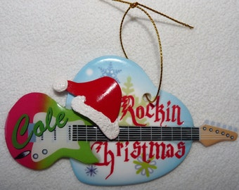 NEW Rock Music Guitar Personalized Christmas Holiday Ornament Double Sided