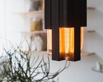 Metal Industrial Hanging Light Fixture with Edison Bulbs