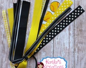 Yellow and Black Softball Streamers,Black and Yellow Softball Hair Bows,Softball Hair Bows,Black and Yellow Softball Streamers,Softball Bows