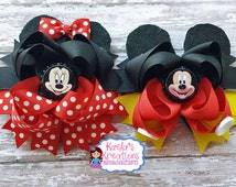 Mickey and Minnie Hair Bows, Minnie and Mickey Hair Bows, Minnie Mouse Hair Bows, Mickey Mouse Hair Bows. Minnie and Mickey Birthday.